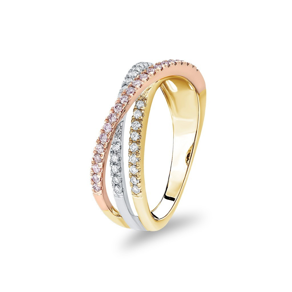 White & Argyle Pink Diamond Blush Aida Dress Ring