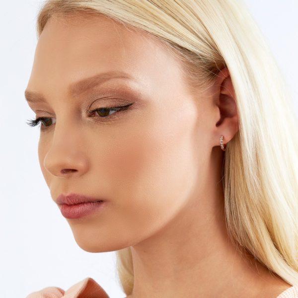 Kimberley White & Argyle Pink Diamond Birgitte Hoop Earrings | PKE-RDHSR0101