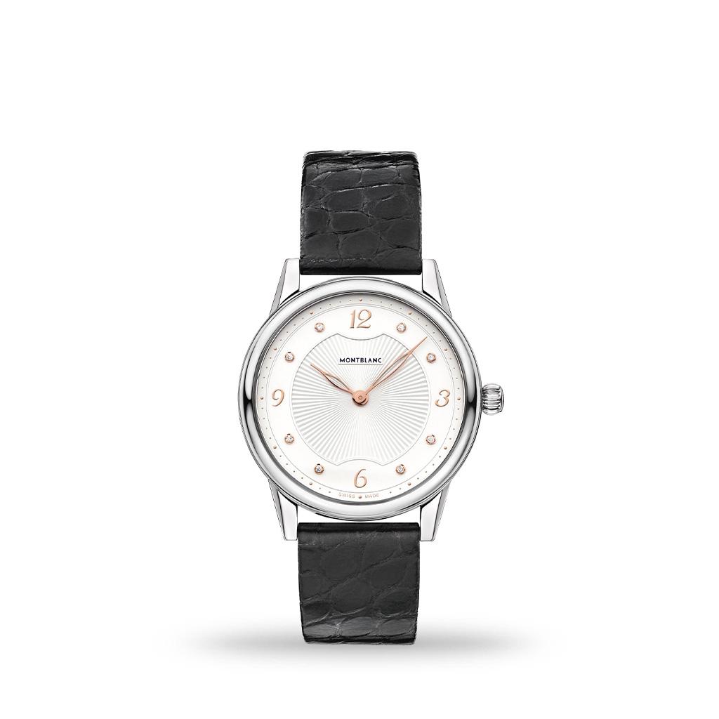 Montblanc Boheme Quartz Silver White Dial 34mm Black Leather