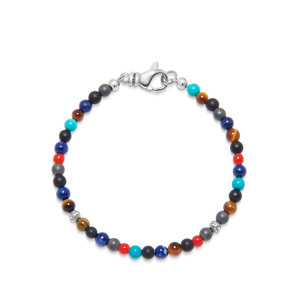 Nialaya The Mykonos Collection – Turquoise, Red Glass Beads, Blue Lapis, Hematite and Onyx