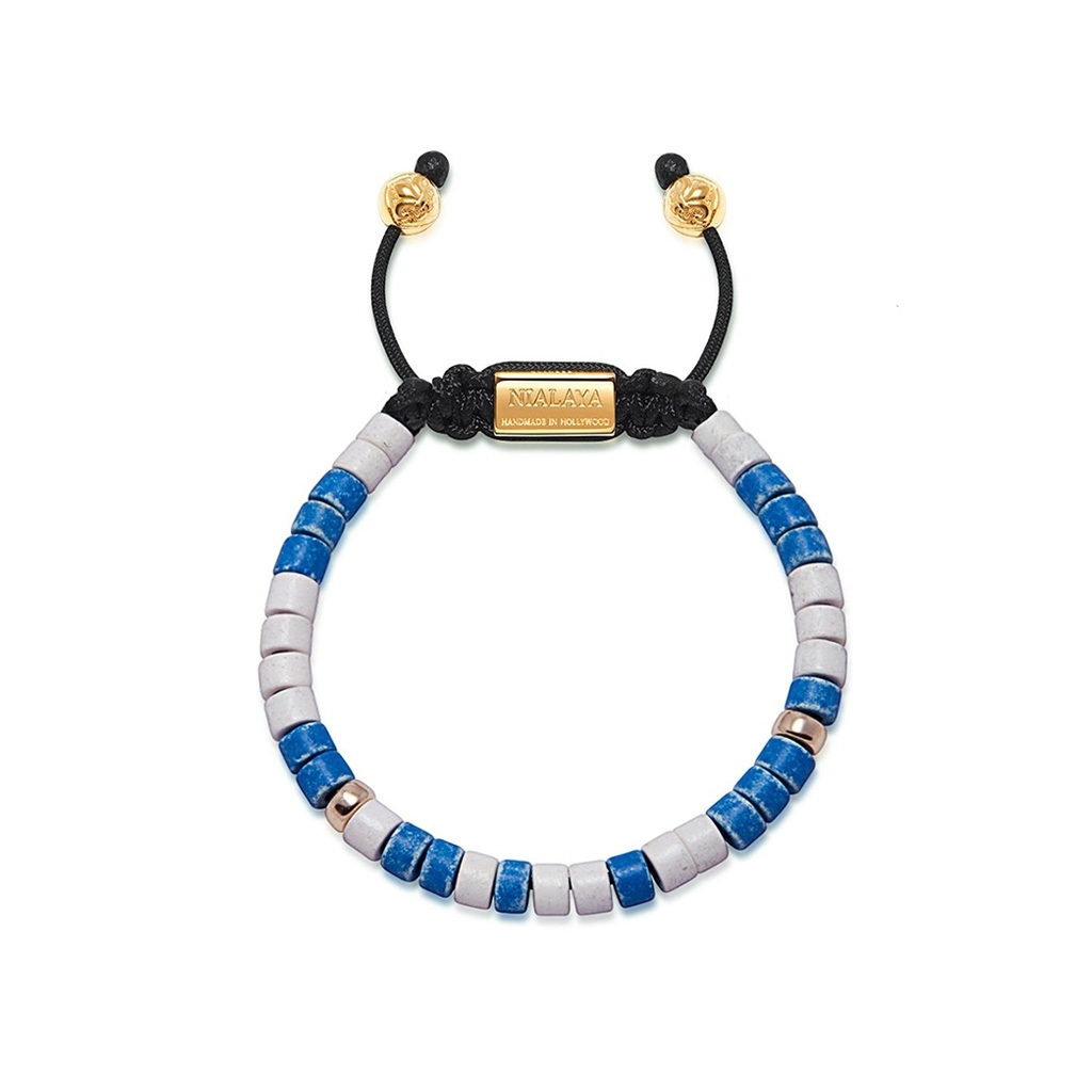 Nialaya Men's Beaded Bracelet With Blue, White and Gold Plated Ceramic Beads