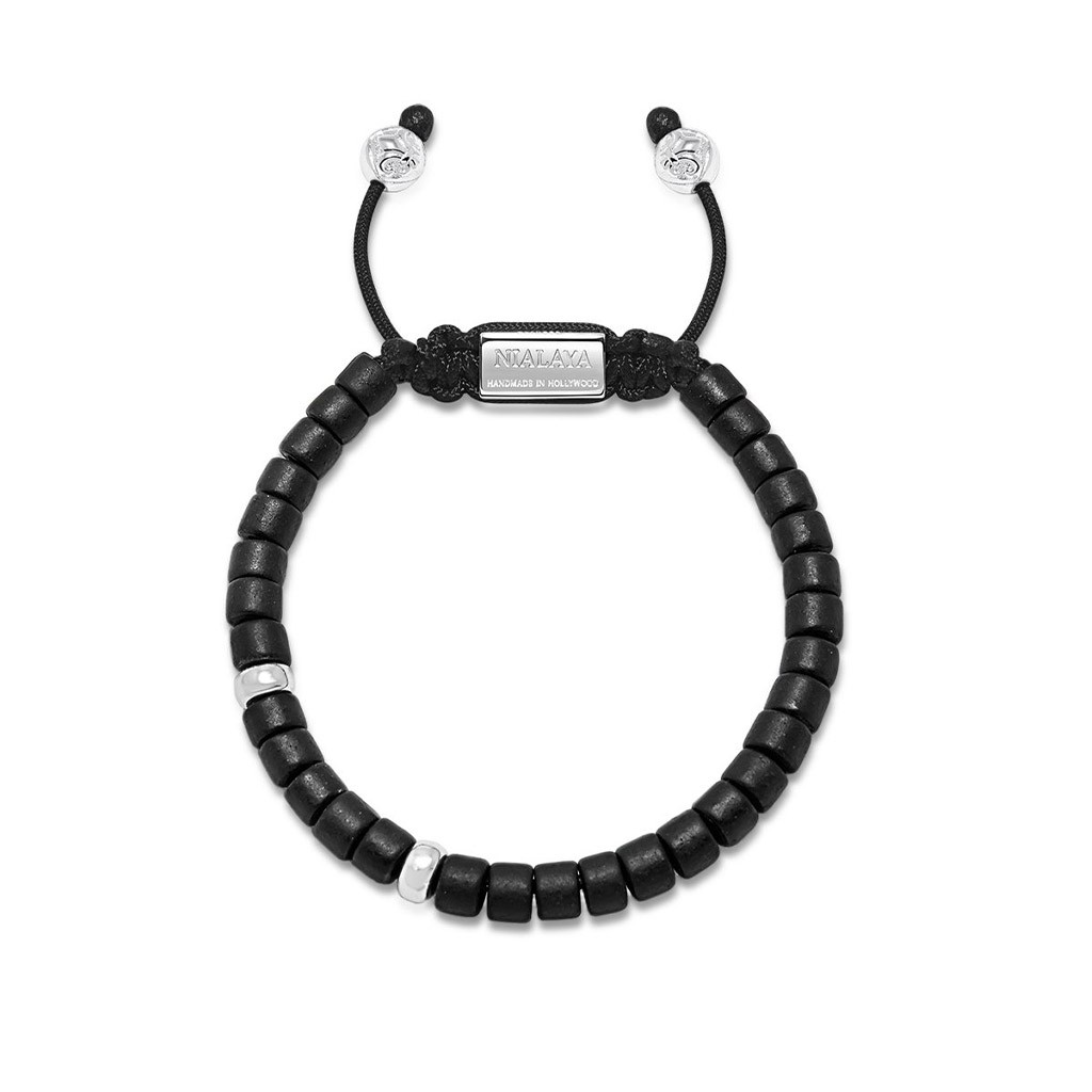 Nialaya The Tulum Collection - Black Ceramic and Silver