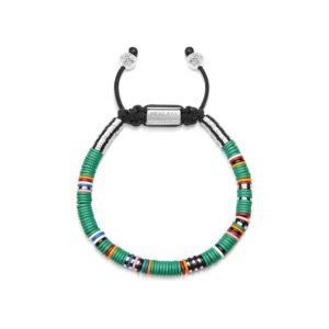 Nialaya The Tulum Collection - Men's Beaded Bracelet with Green Disc Beads | MCRS_012