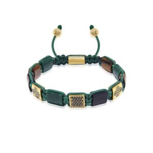 Nialaya The Dorje Flatbead Collection - Green African Jade, Matte Onyx, and Brown Tiger Eye | MLUXPL_085 Large