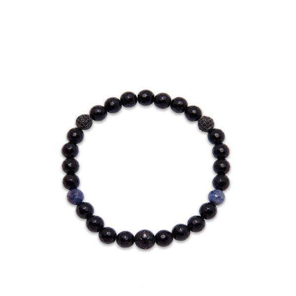 Nialaya Women's Wristband with Black Agate and Blue Dumorite WCHCO_147