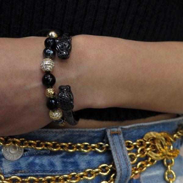 Nialaya Women's Beaded Bracelet with Hematite, Agate and Gold | WCZ8_010