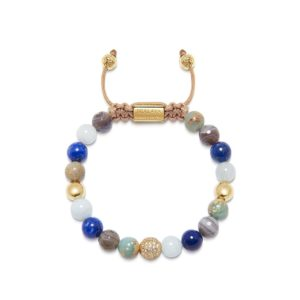 Nialaya Women's Beaded Bracelet with Aquamarine, Blue Lapis, Opal, and Botswana Agate WCZ8_032