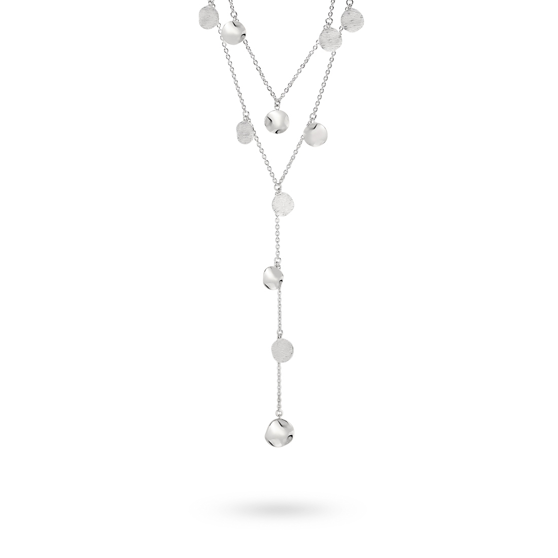 Mabel Two Row Disc Silver Necklace