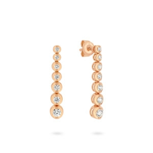 Classic Graduated Diamond Drop Earrings in Rose Gold