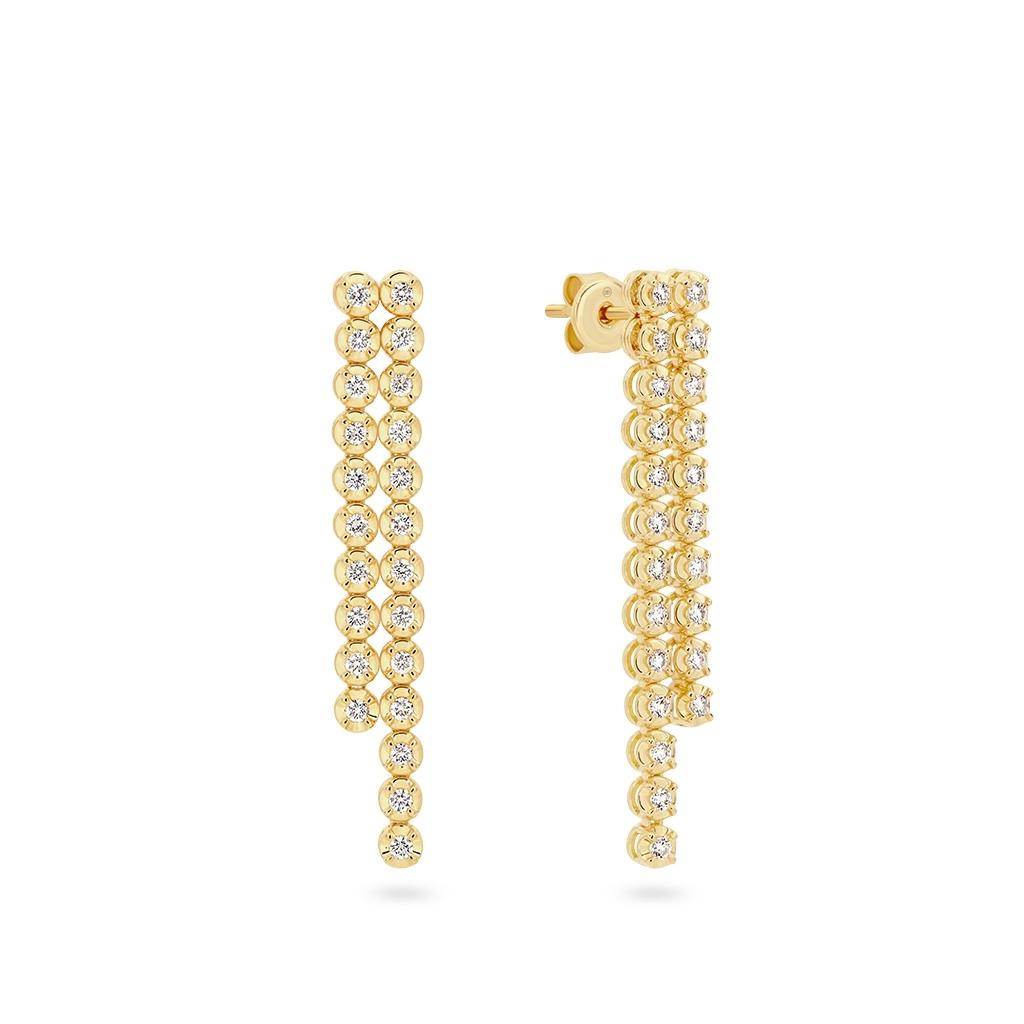 Two Row Classic Diamond Drop Earrings in Yellow Gold