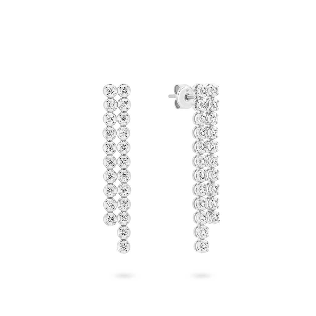 Two Row Classic Diamond Drop Earrings in White Gold