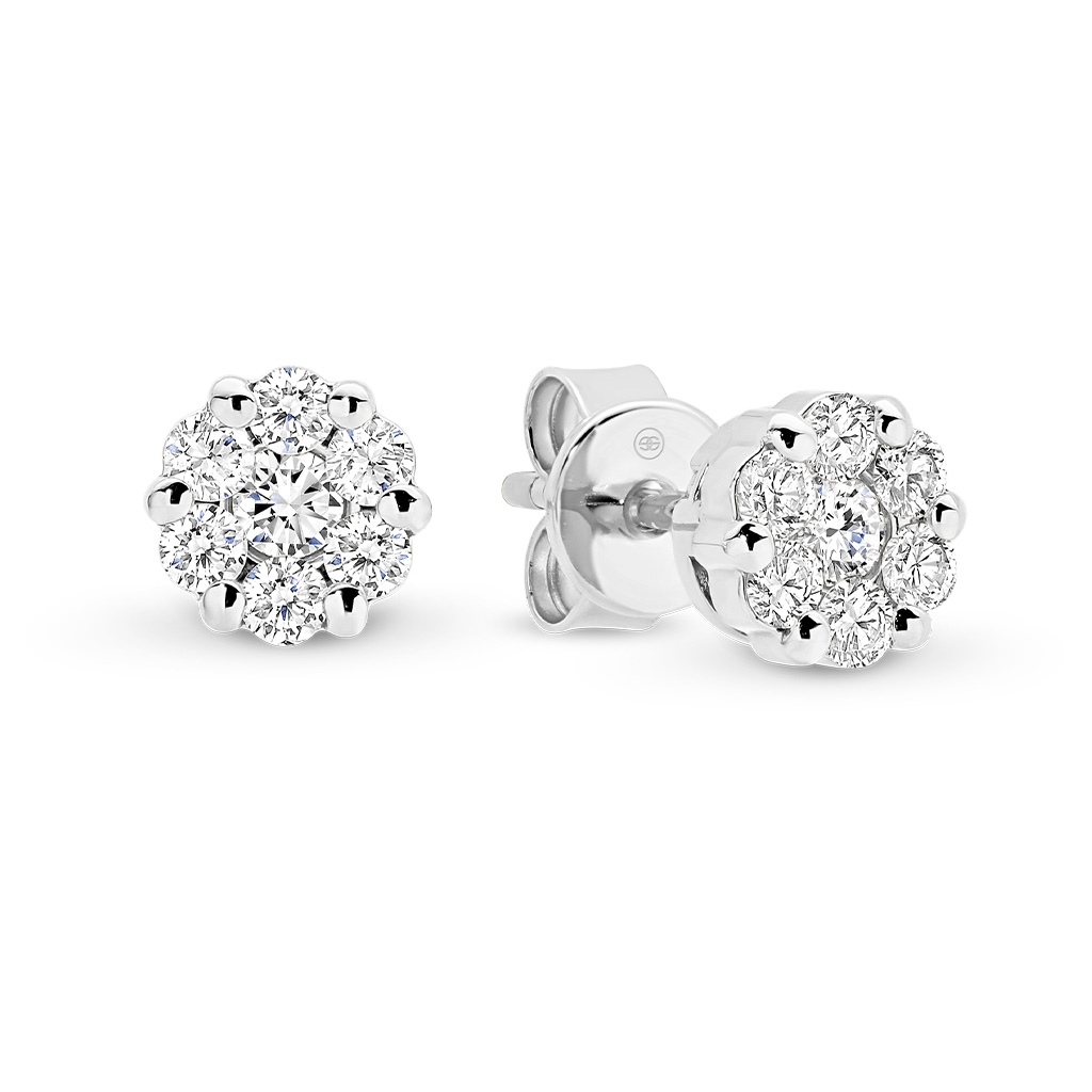Diamond Cluster Stud Earrings in White Gold