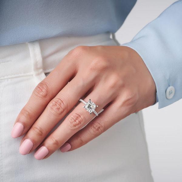 Cushion Cut Square Diamond Band Engagement Ring