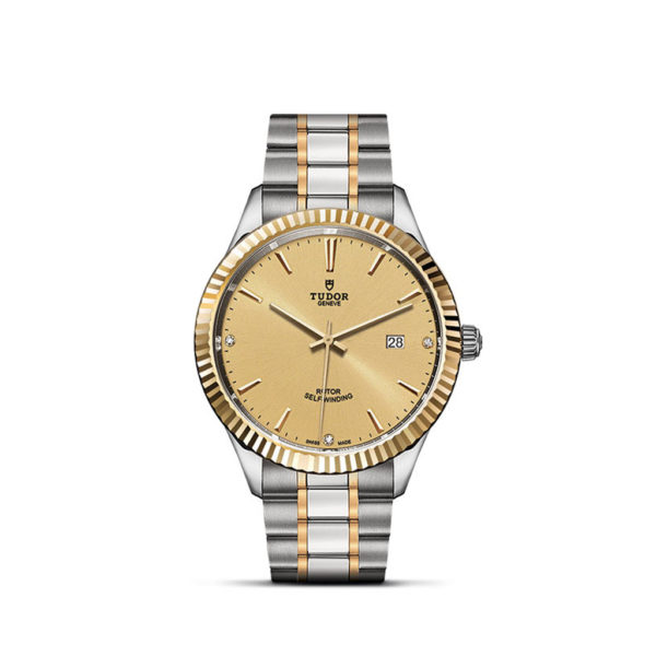 Tudor Style 41mm Champagne-colour dial with 3 diamonds Steel and Yellow Gold Bracelet