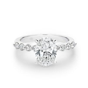 Oval Shape Diamond Band Engagement Ring