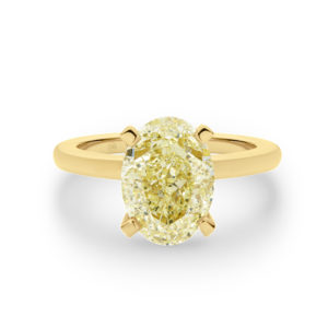 Oval Shape Solitaire Yellow Diamond Engagement Ring
