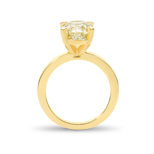 Oval Shape Yellow Solitaire Diamond Engagement Ring