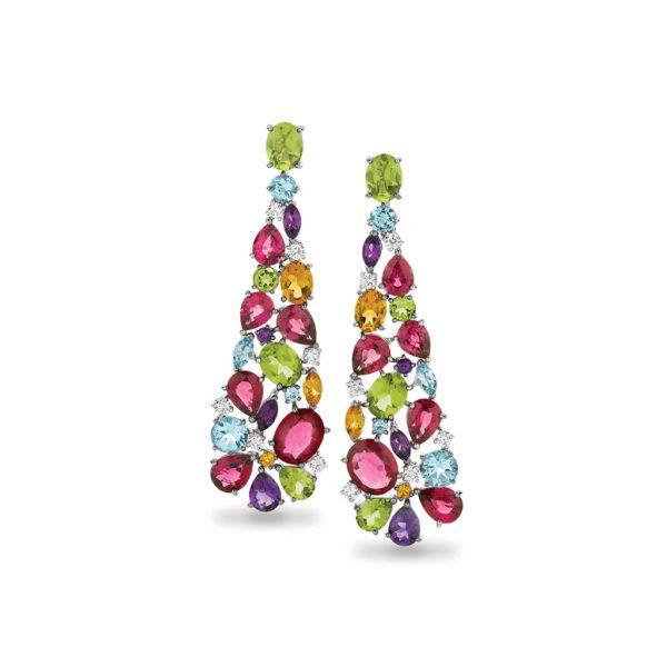 Multi-Coloured Gemstone & Diamond Cocktail Drop Earrings