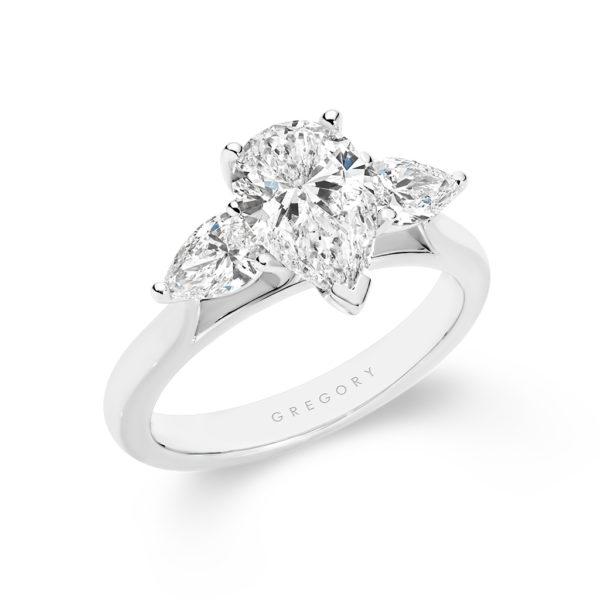 Trilogy Pear Shape Diamond Engagement Ring   A2274