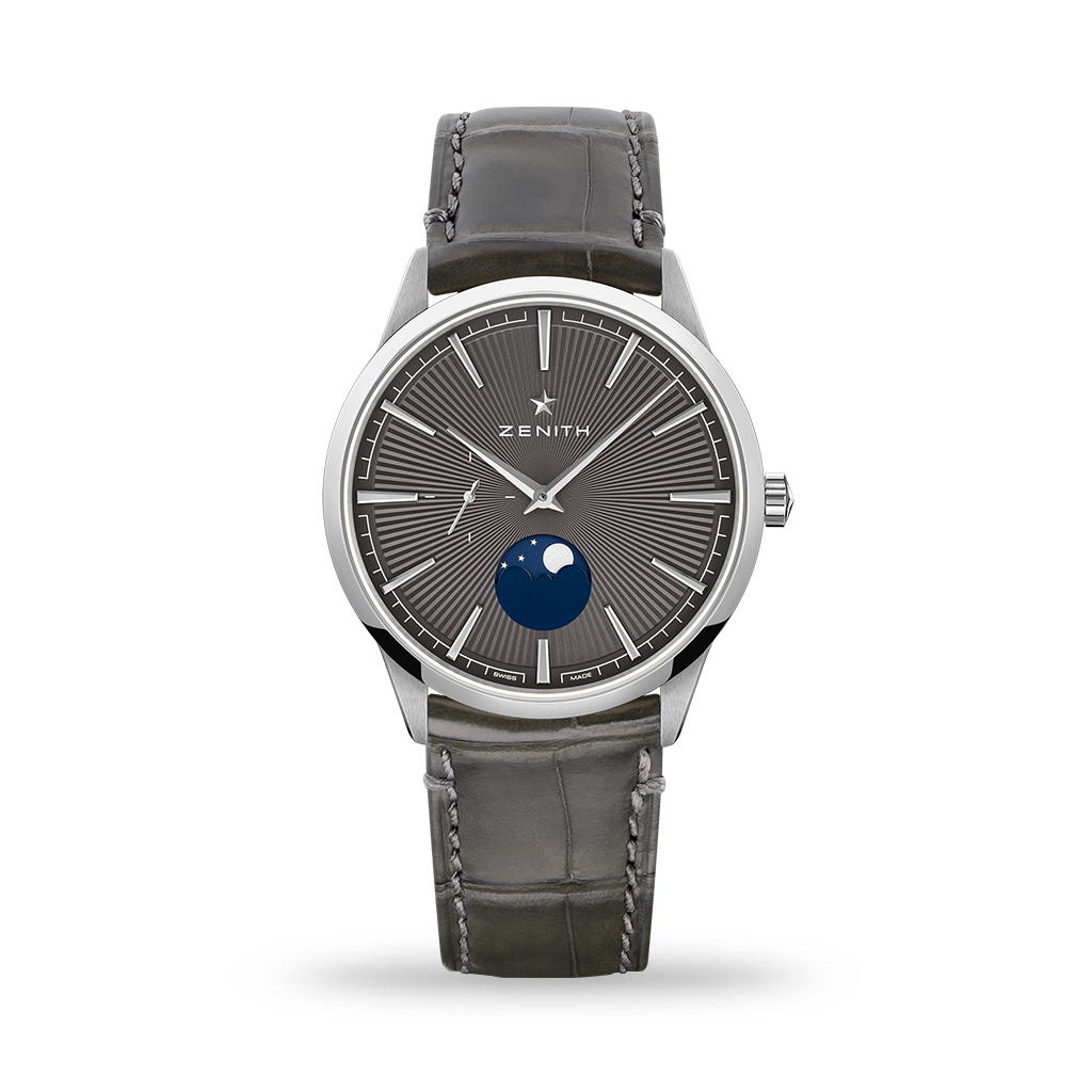 Zenith Elite Moonphase 40mm Grey Leather Strap