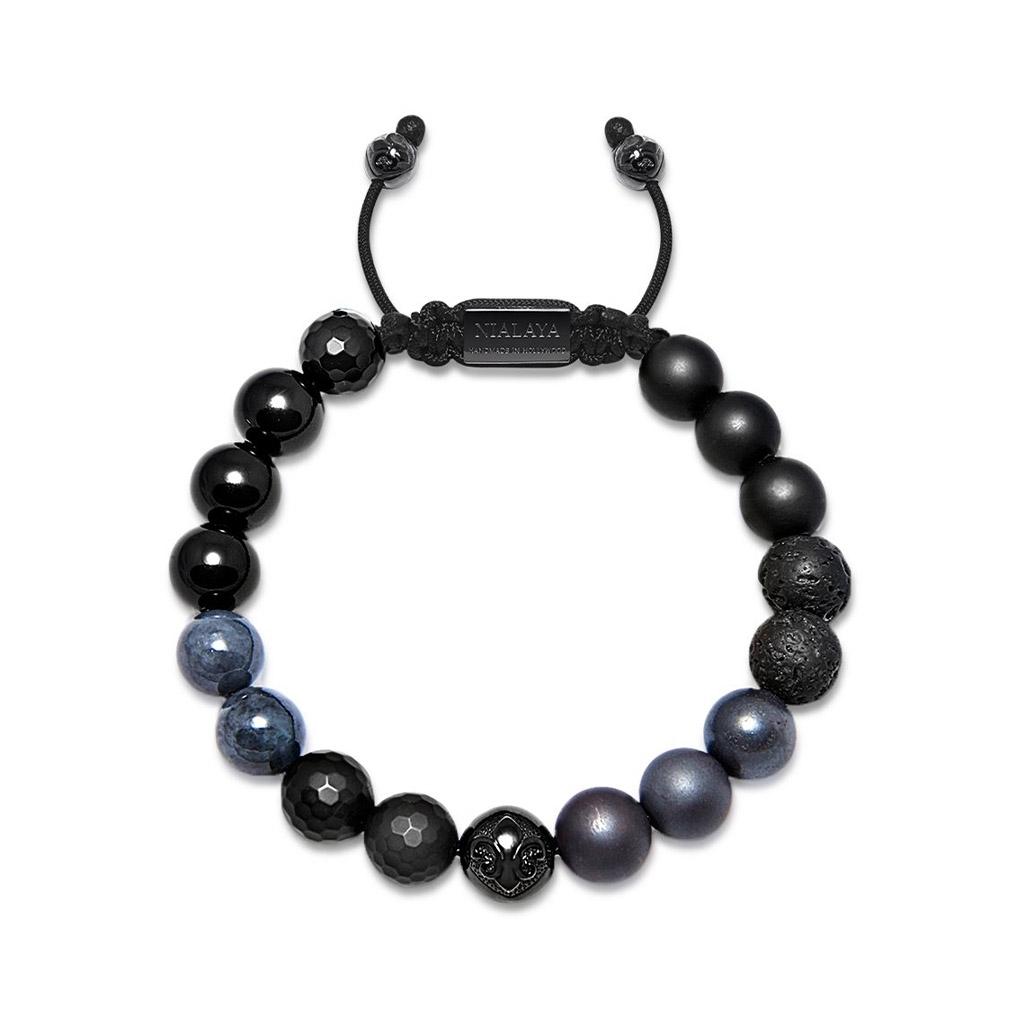 Nialaya Men's Beaded Bracelet with Matte Onyx, Lava Stone & Black Agate