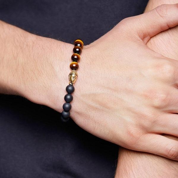 Nialaya Men's Wristband with Tiger Eye, Matte Onyx and Gold Buddha