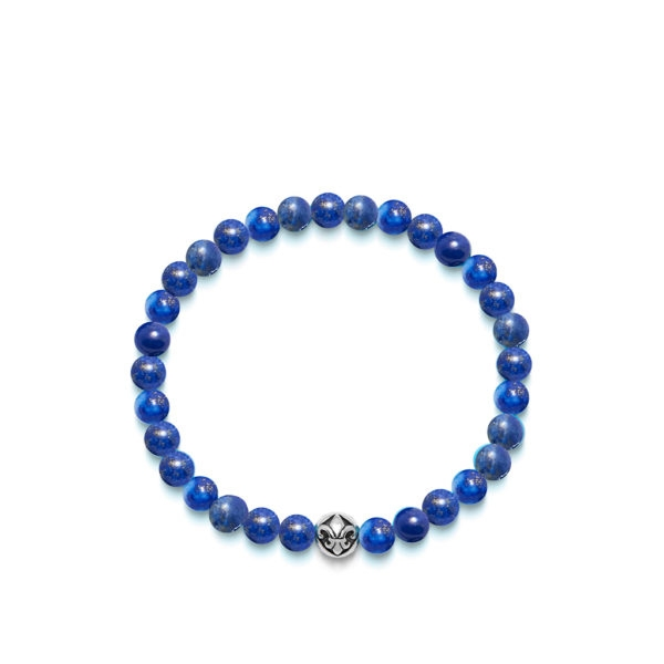 Nialaya Men's Wristband with Blue Lapis and Silver | MCHCO_250