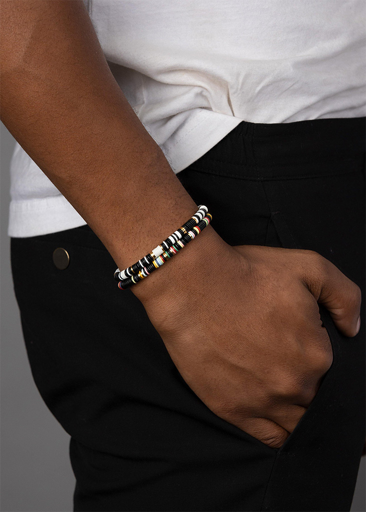 Nialaya The Tulum Collection - Black and White Disc Beads and Gold
