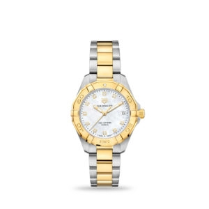 TAG Heuer Aquaracer Quartz White mother-of-pearl Gold Plated 32mm bracelet | WBD1322.BB0320
