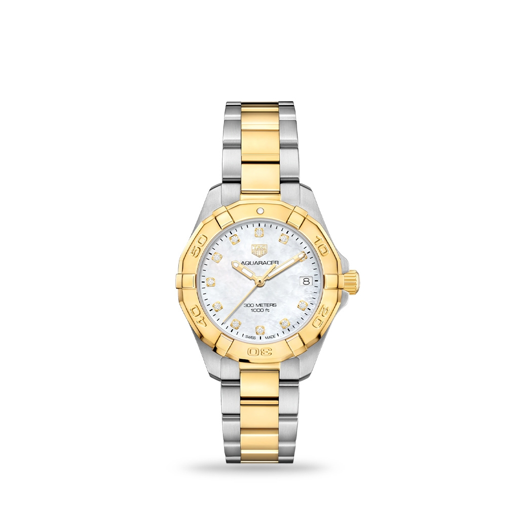TAG Heuer Aquaracer Quartz White mother-of-pearl Gold Plated 32mm bracelet