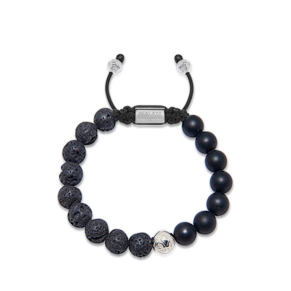 Nialaya Men's Beaded Bracelet with Matte Onyx and Lava Stone | MBS10_031