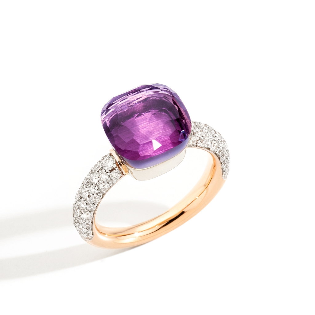 Pomellato Nudo Classic Diamonds & Amethyst Ring