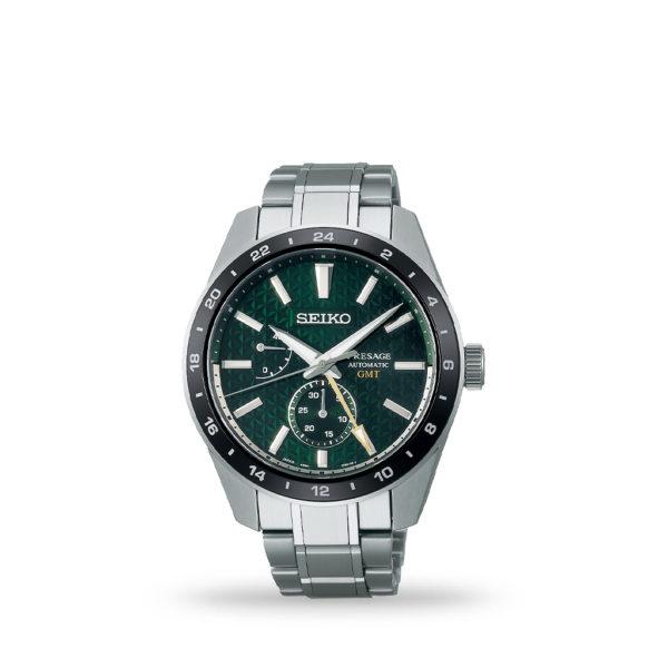 Seiko Presage Sharp Edge Series Green GMT 42mm Green Dial Stainless steel bracelet   SPB219J