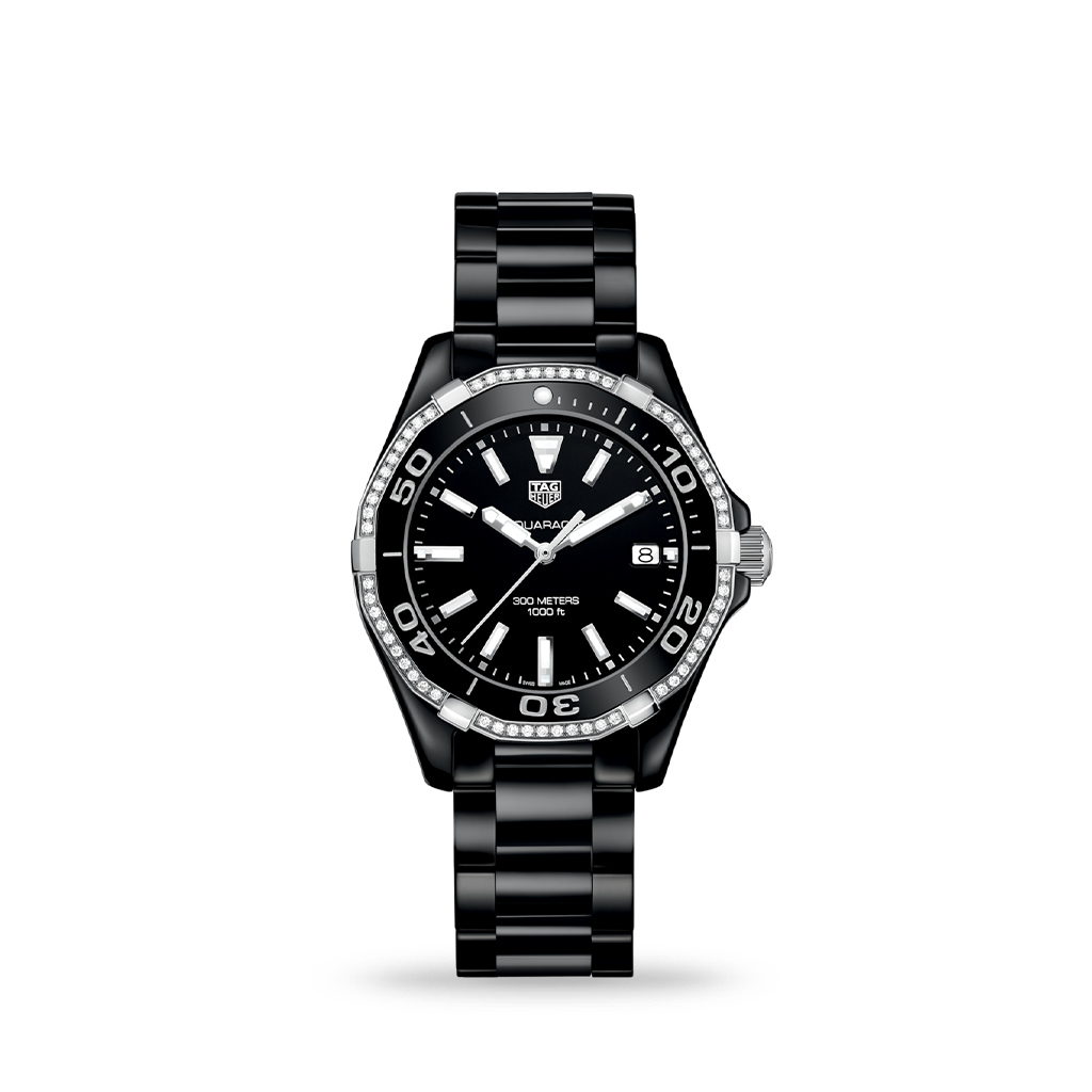 TAG Heuer Aquaracer 35mm Diamond Black Ceramic Bracelet