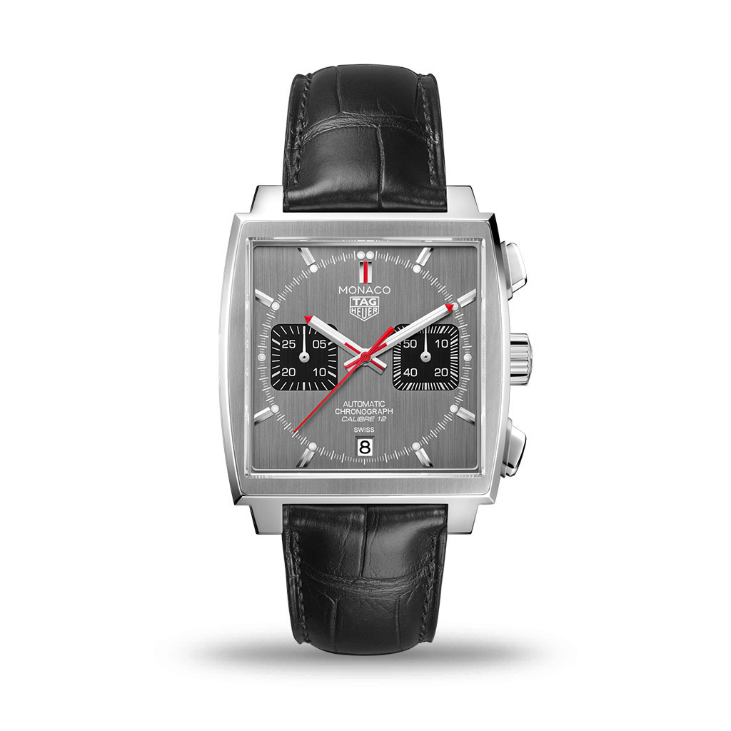 TAG HEUER Monaco Automatic 39mm Grey Dial Black Leather Strap