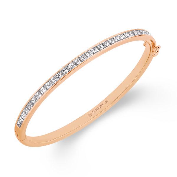 Gregory Jewellers Princess Cut Channel Set Diamond Bangle   P58 Rose Gold
