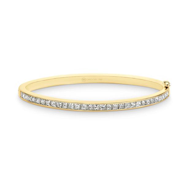 Gregory Jewellers Princess Cut Channel Set Diamond Bangle   P58 Yellow Gold