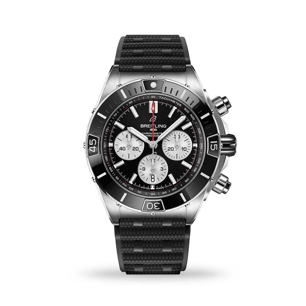 Breitling Super Chronomat B01 Automatic Black Dial 44mm Rubber Strap