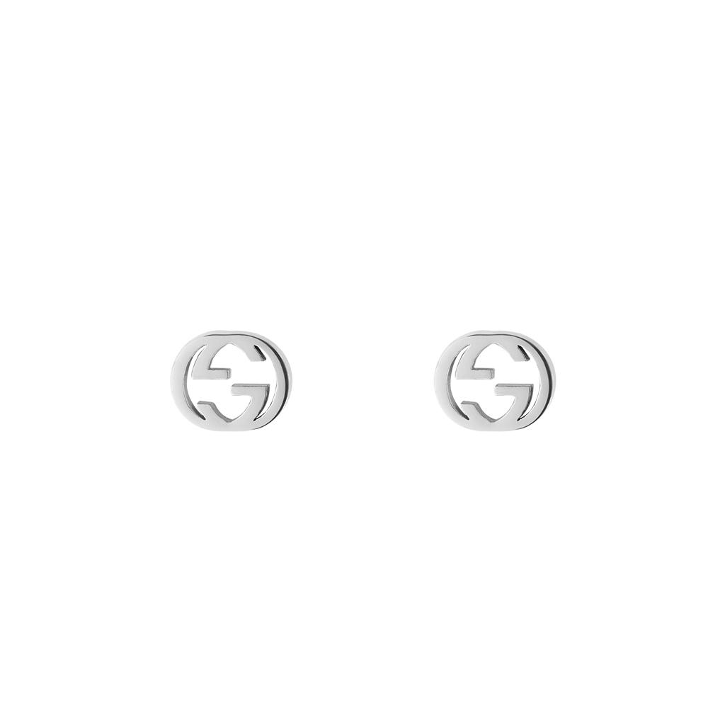 Gucci Interlocking G Stud Earrings in 18k White Gold