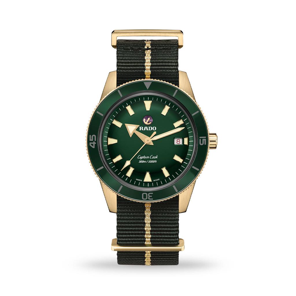 Rado Captain Cook Automatic Green Dial Bronze 42mm Nato Strap
