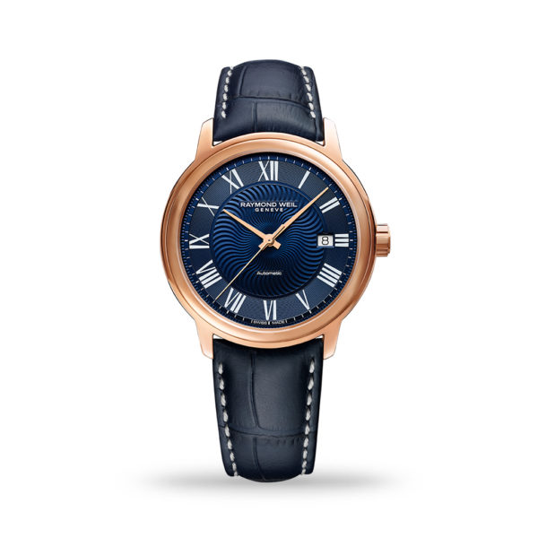 Raymond Weil Maestro Blues Automatic 40mm Rose Gold & Leather Strap   2237-PC5-00508