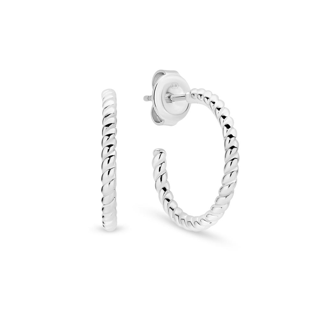 Lucinda Rope Silver Hoop Earrings – Small