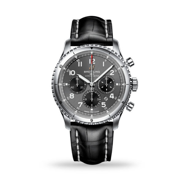 Breitling Aviator 8 B01 Chronograph 43mm Anthracite Dial Leather Strap | AB0119131B1P2