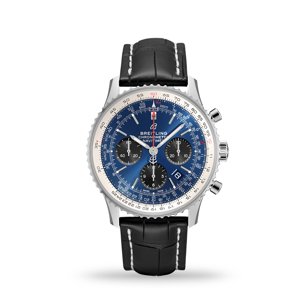 Breitling Navitimer B01 Chronograph 43mm Stainless Steel Case Blue Dial Leather Band