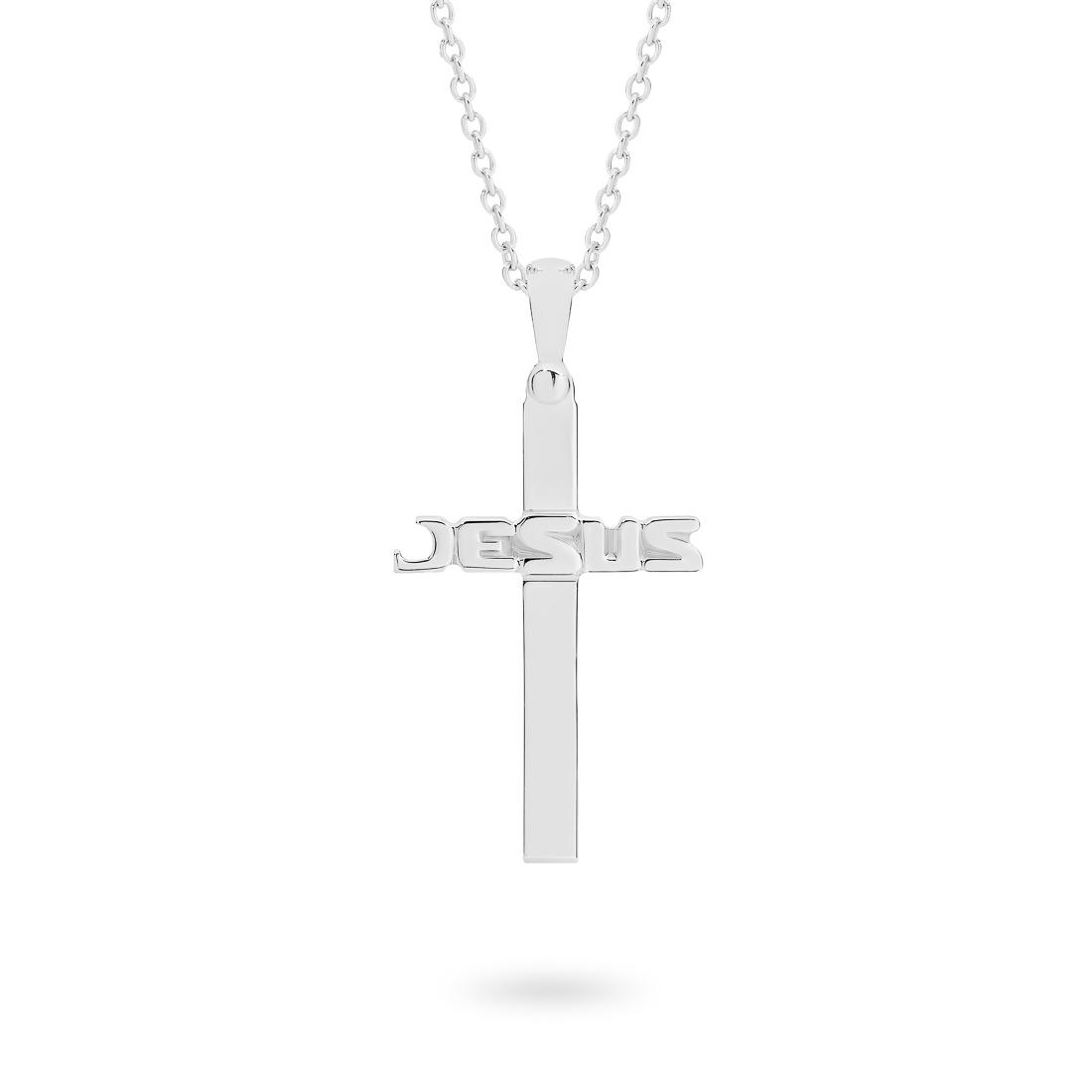 18K White Gold Jesus Cross Pendant