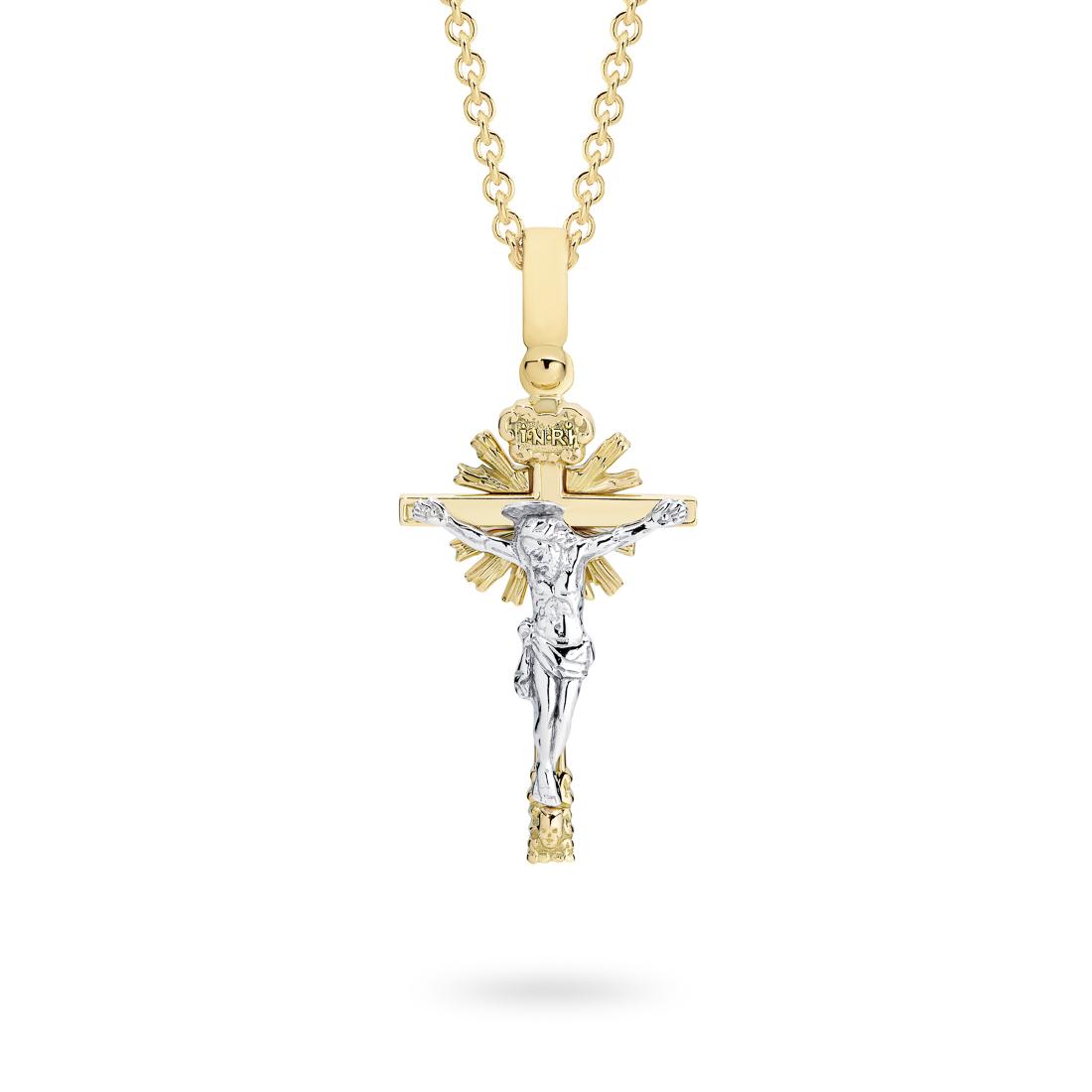 18K Yellow & White Gold Shinning Star Crucifix Pendant