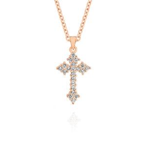 Gregory Diamond Claw Set Cluster Diamond Cross Pendant Rose Gold   O404RG