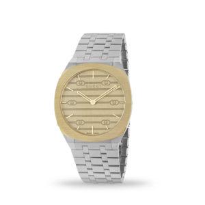 Gucci 25H 38mm Quartz 18K Yellow Gold Plated Case & Steel Bracelet | YA163405