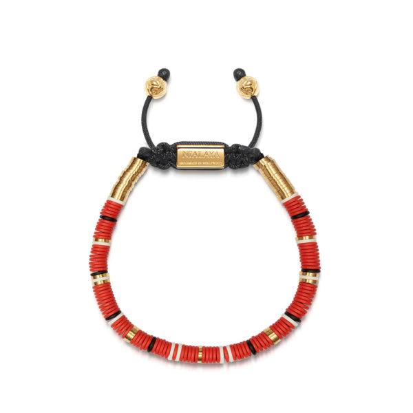 Nialaya Tulum Men's Bracelet with Red, White and Gold Disc Beads | MCRG_014