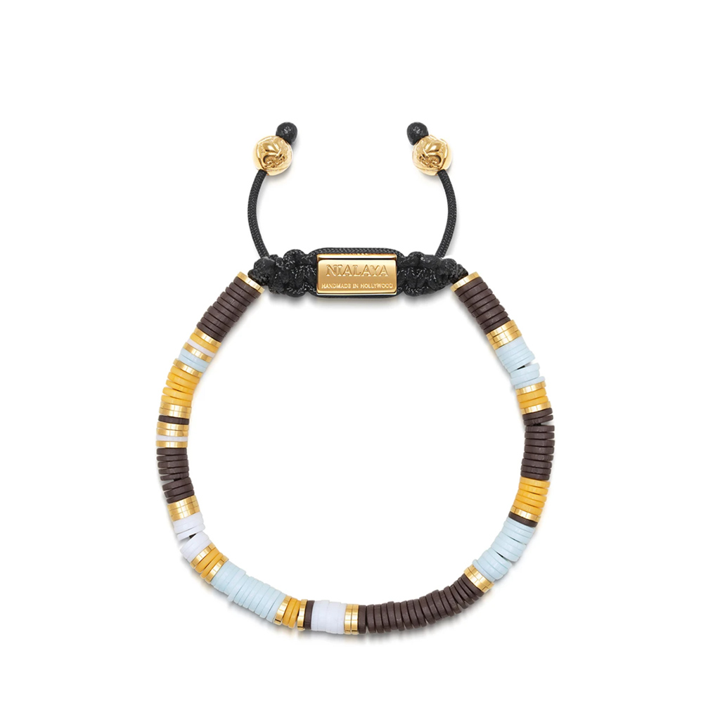 Nialaya Men's Beaded Bracelet with Blue, Brown, Orange, White and Gold Disc Beads